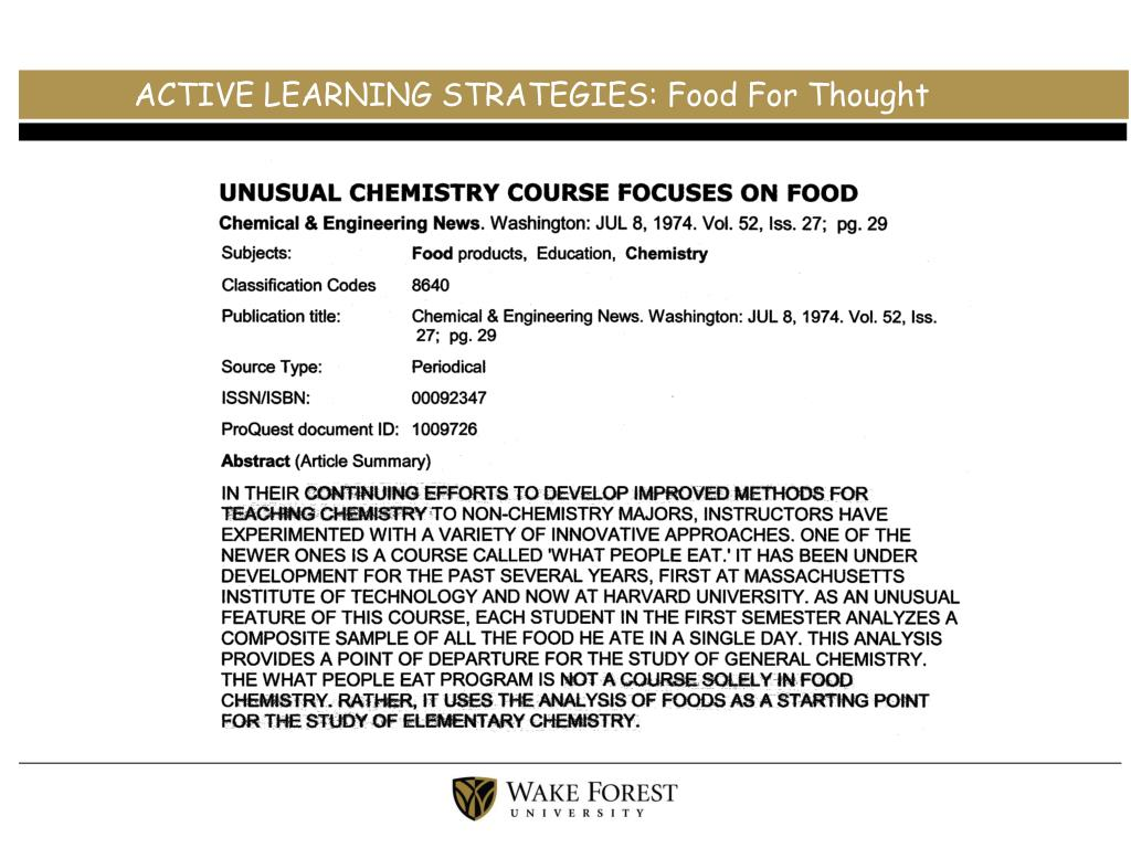 ACTIVE LEARNING STRATEGIES: Food For Thought