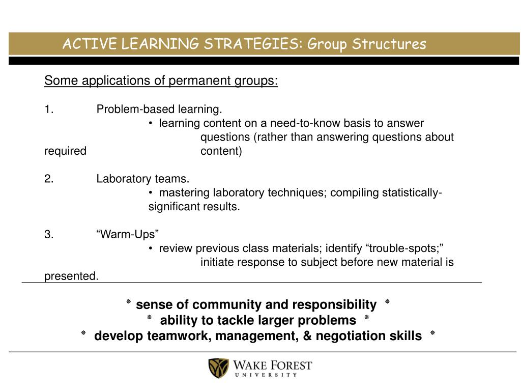 ACTIVE LEARNING STRATEGIES: Group Structures