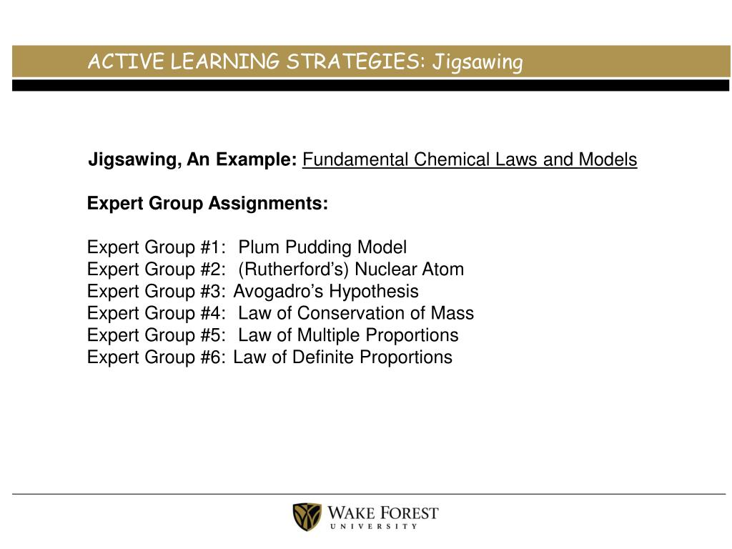 ACTIVE LEARNING STRATEGIES: Jigsawing