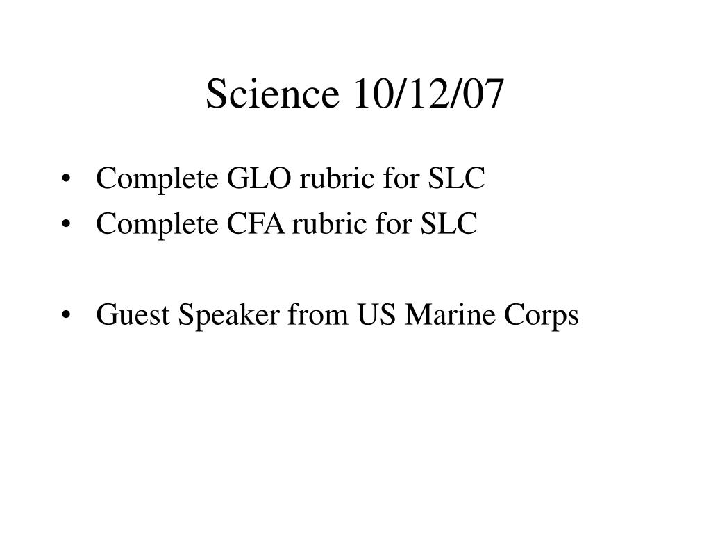 Science 10/12/07