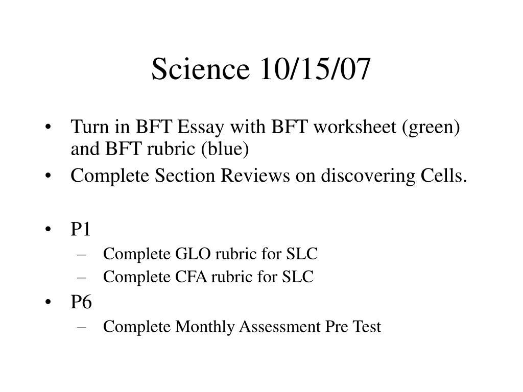 Science 10/15/07