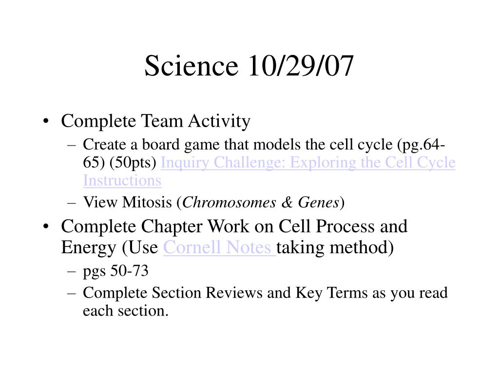 Science 10/29/07