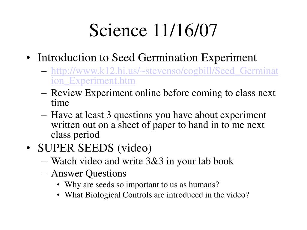Science 11/16/07