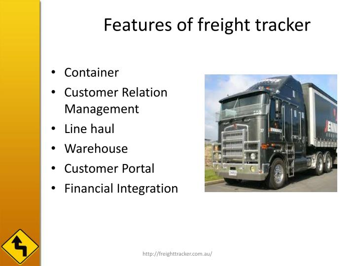 Features of freight tracker l.jpg