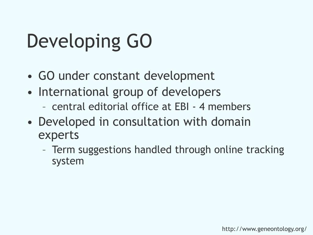 Developing GO