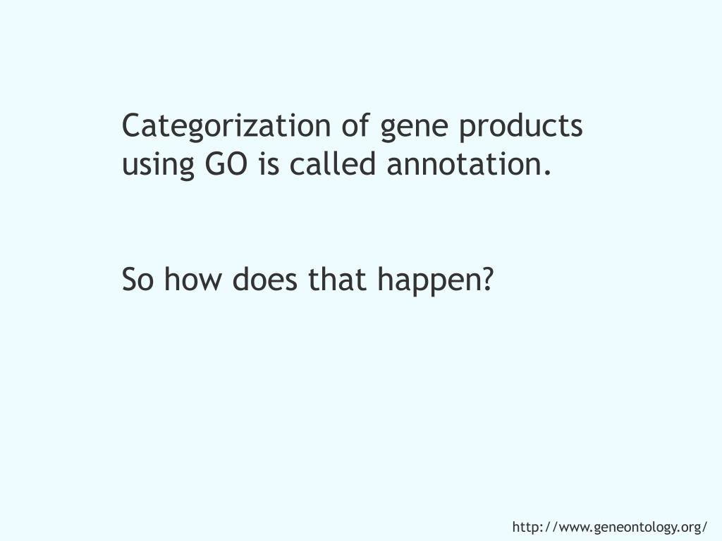 Categorization of gene products