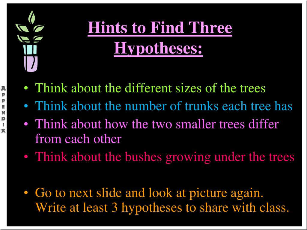 Hints to Find Three Hypotheses: