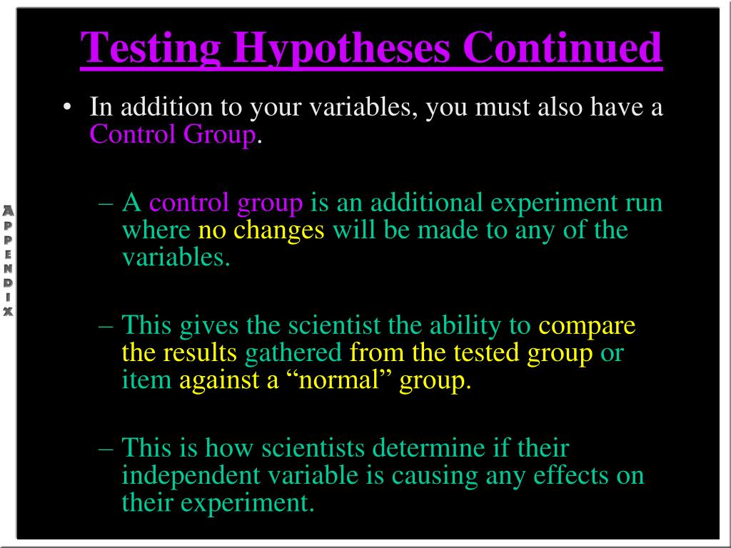 Testing Hypotheses Continued
