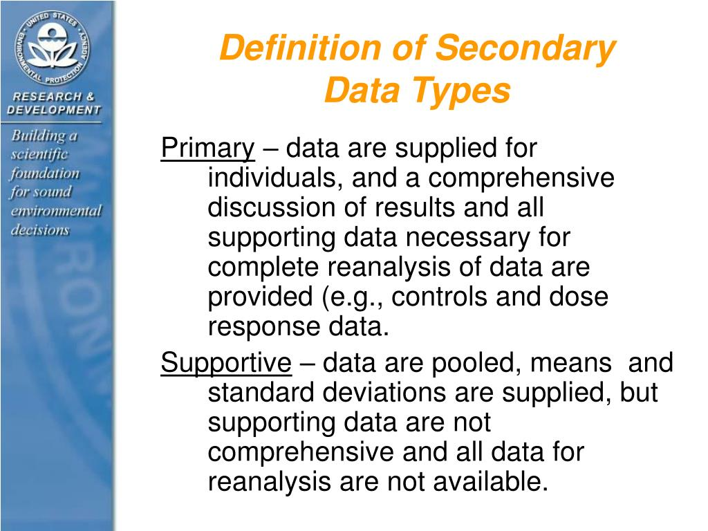 Definition of Secondary Data Types