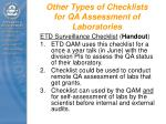 other types of checklists for qa assessment of laboratories