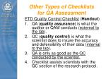 other types of checklists for qa assessment