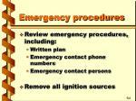 emergency procedures22