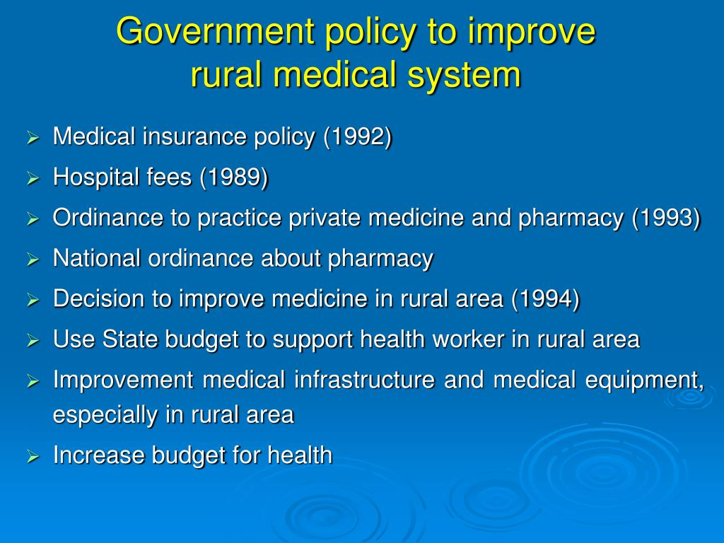 Government policy to improve