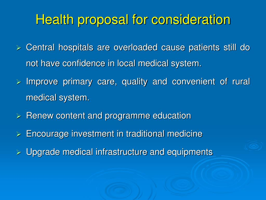 Health proposal for consideration