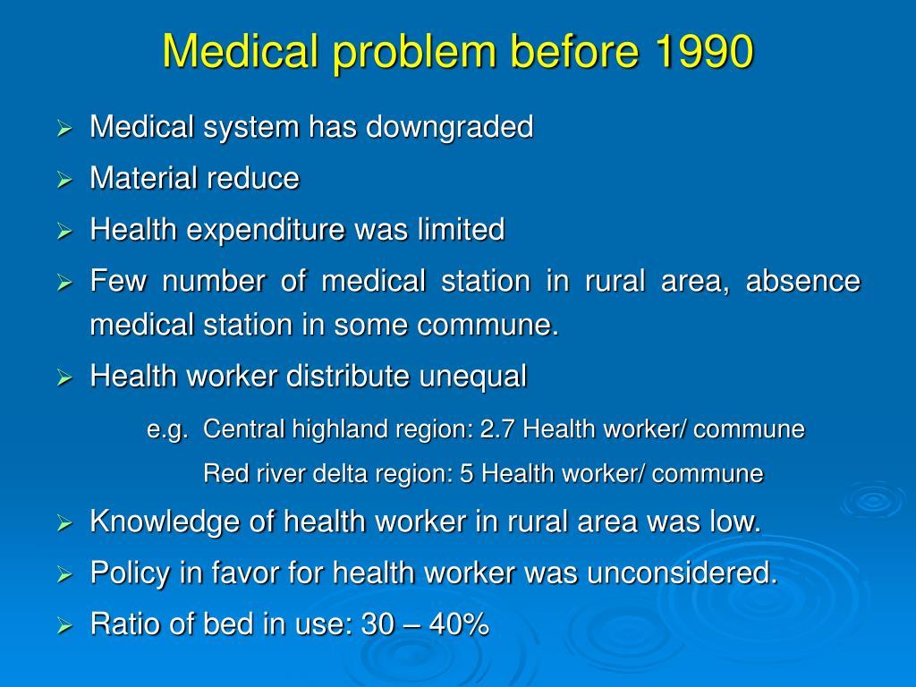 Medical problem before 1990