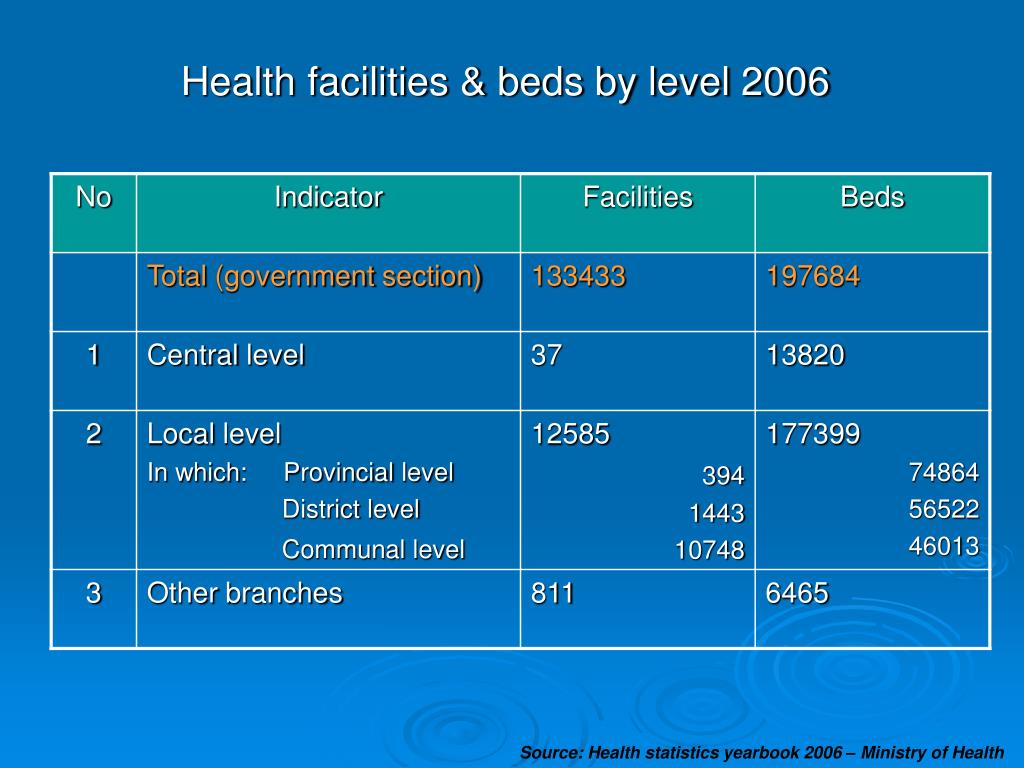 Health facilities & beds by level 2006