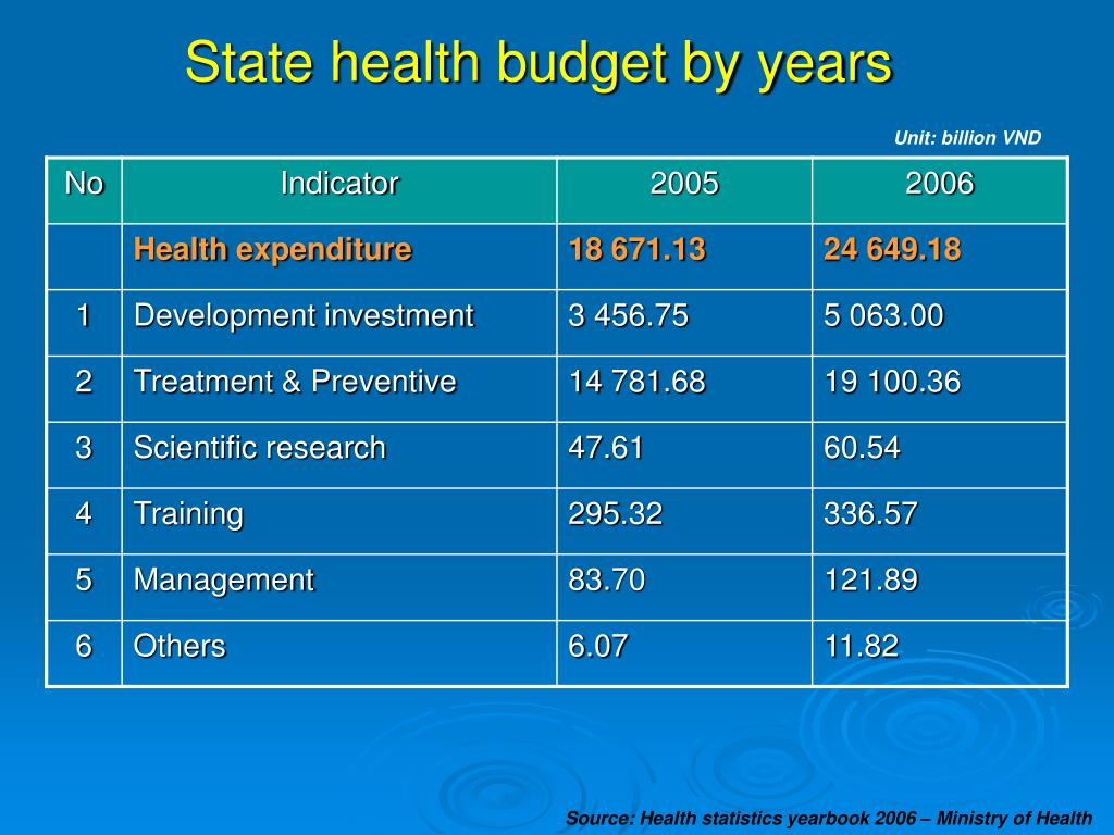 State health budget by years