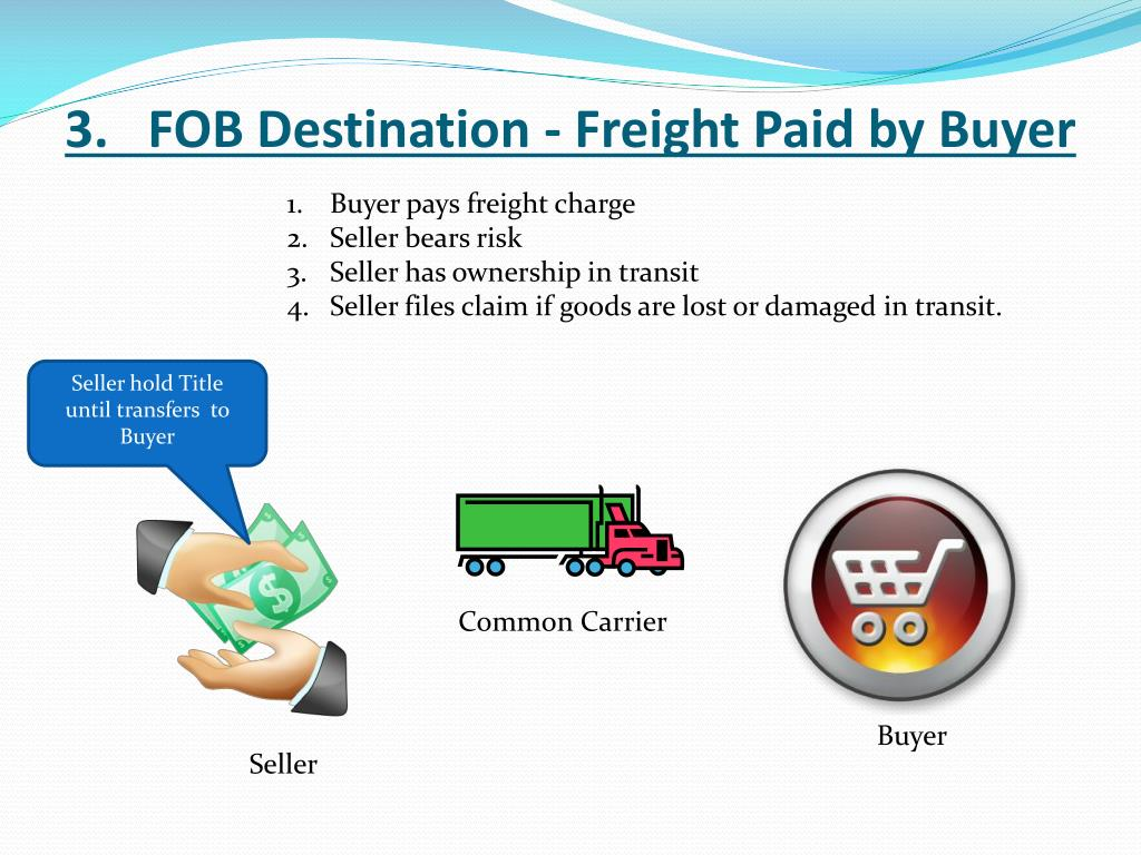 3.   FOB Destination - Freight Paid by Buyer