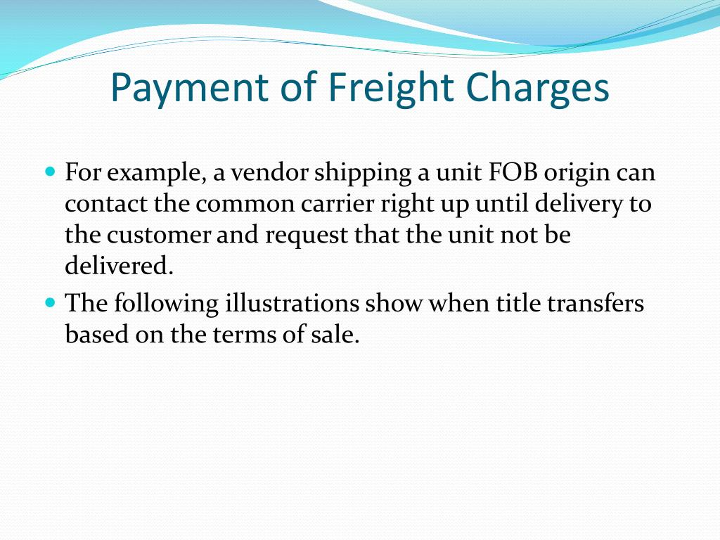 Payment of Freight Charges