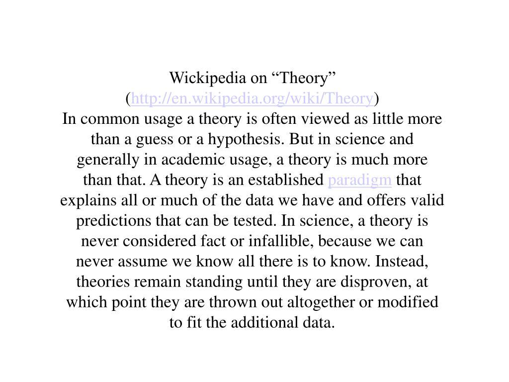 "Wickipedia on ""Theory"" ("