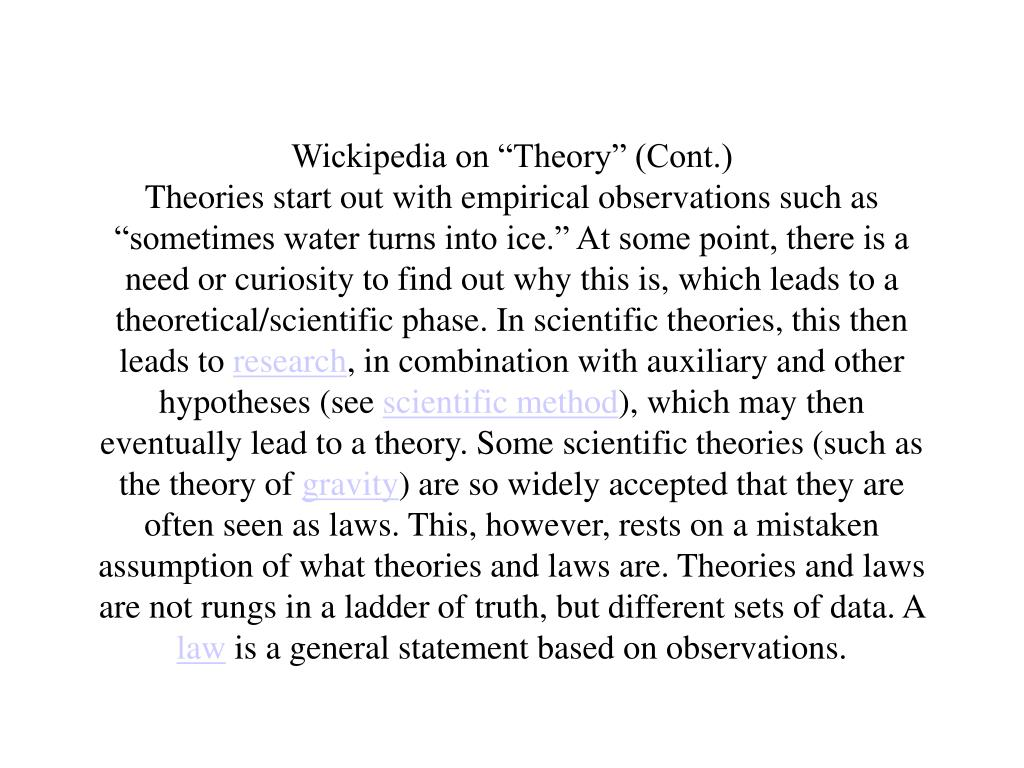 "Wickipedia on ""Theory"" (Cont.)"