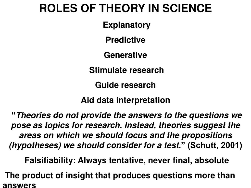 ROLES OF THEORY IN SCIENCE
