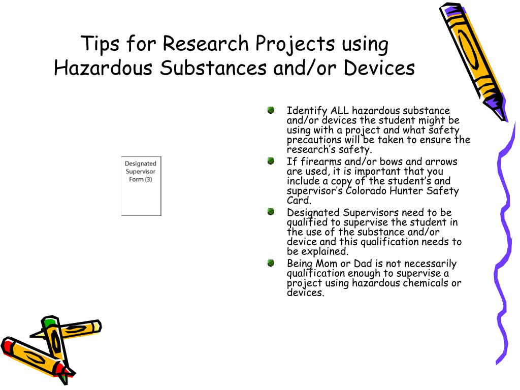 Tips for Research Projects using Hazardous Substances and/or Devices