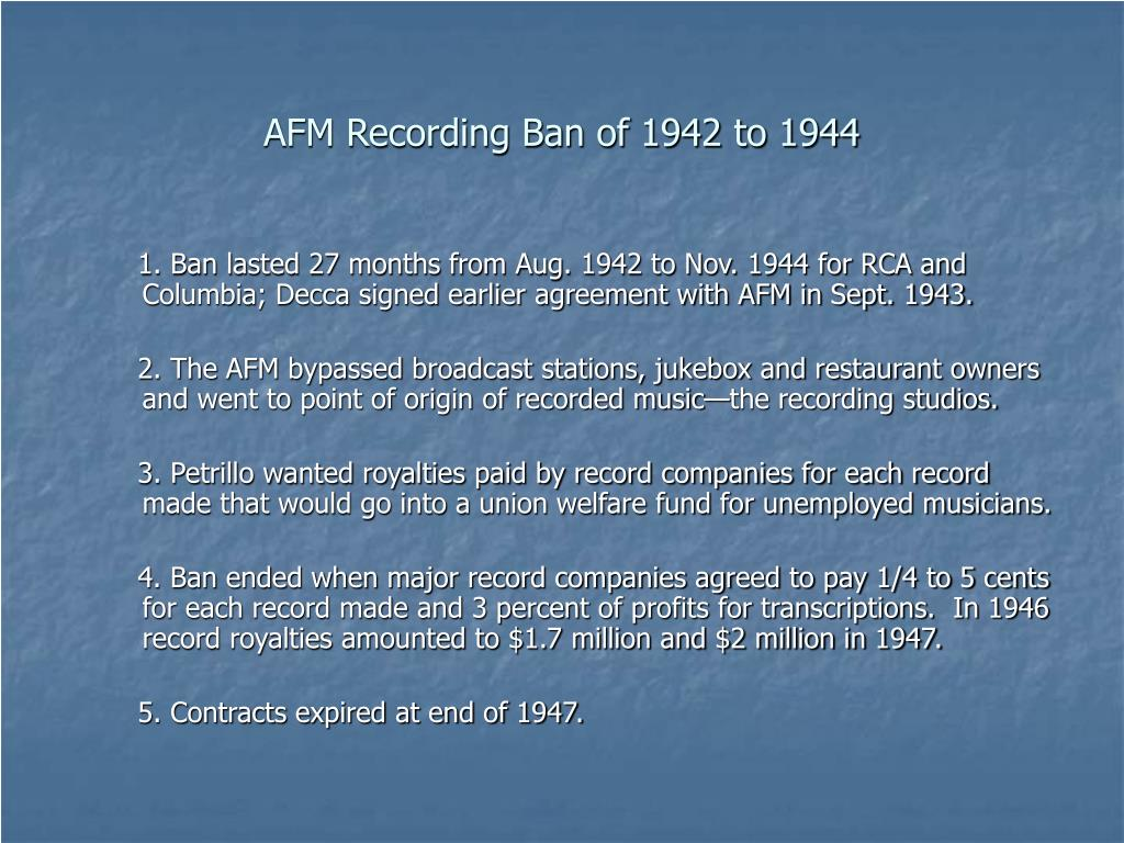 AFM Recording Ban of 1942 to 1944
