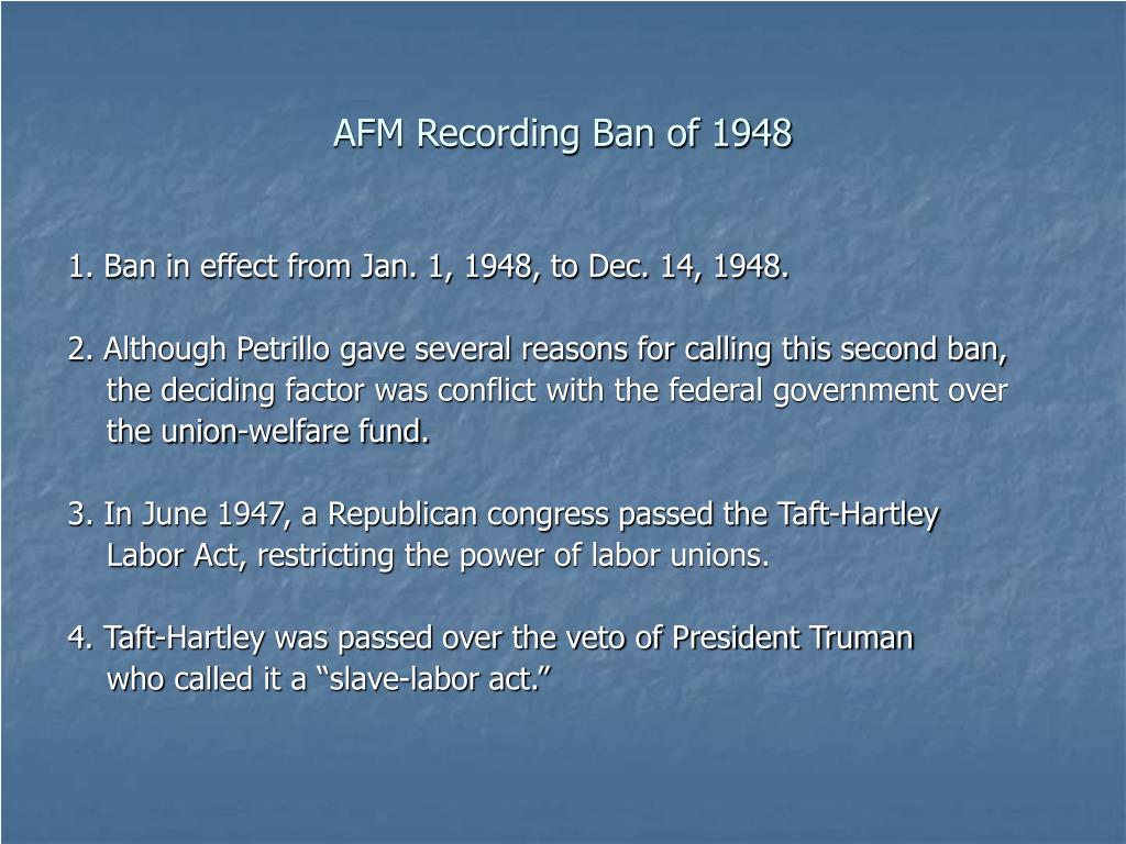 AFM Recording Ban of 1948