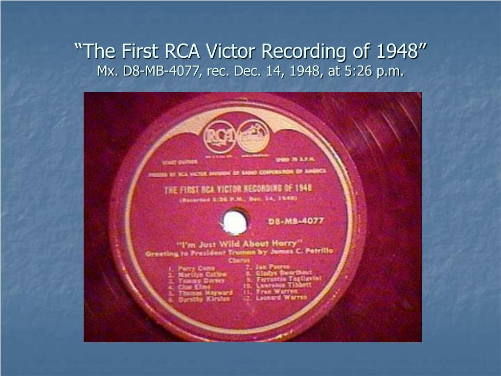 """The First RCA Victor Recording of 1948"""