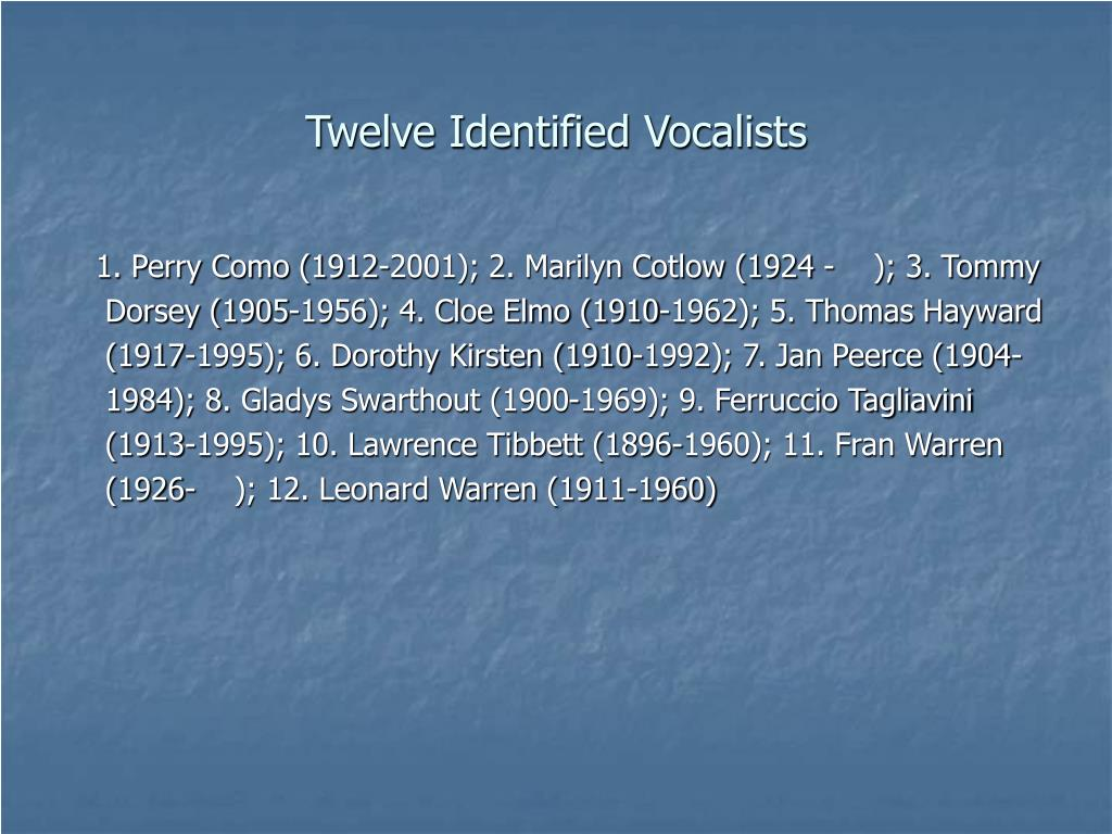 Twelve Identified Vocalists