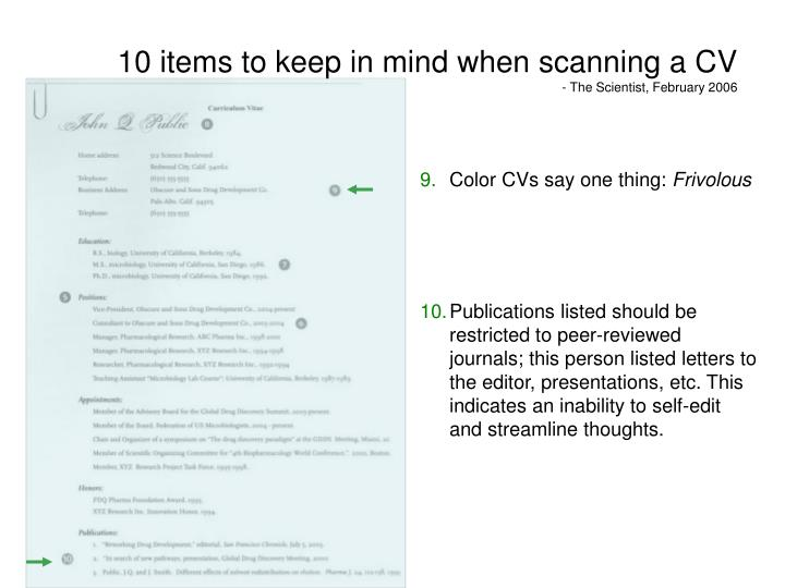 10 items to keep in mind when scanning a CV