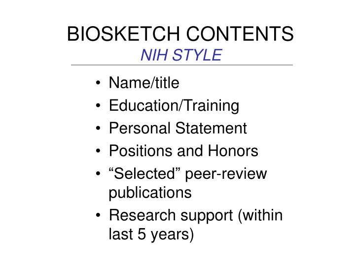 BIOSKETCH CONTENTS