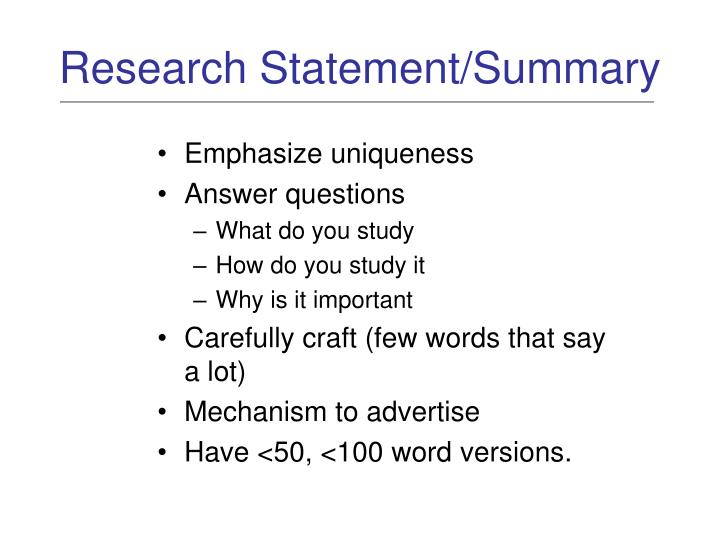 Research statement summary