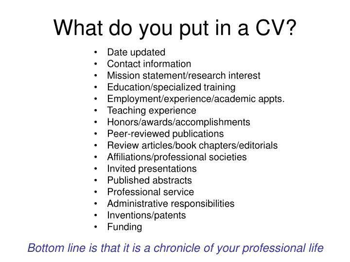 What do you put in a CV?
