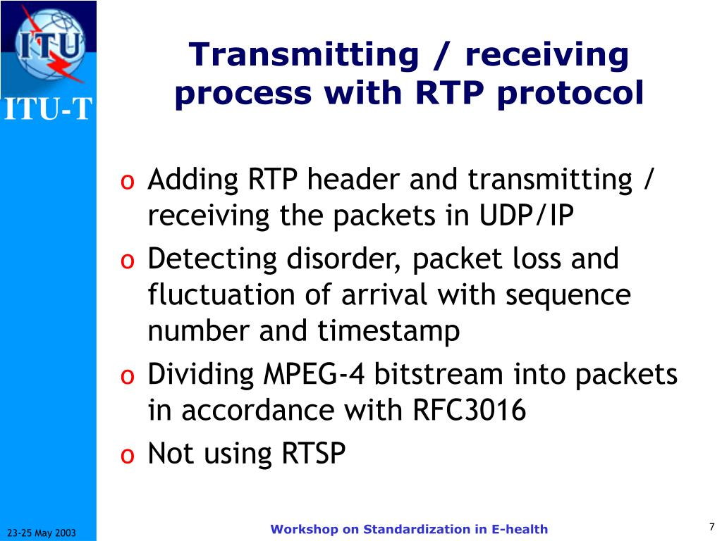 Transmitting / receiving process with RTP protocol