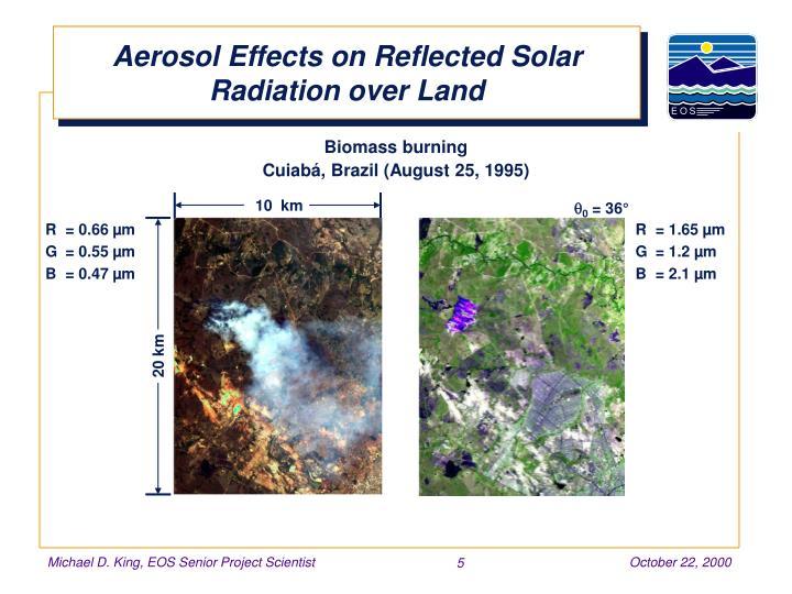 Aerosol Effects on Reflected Solar Radiation over Land