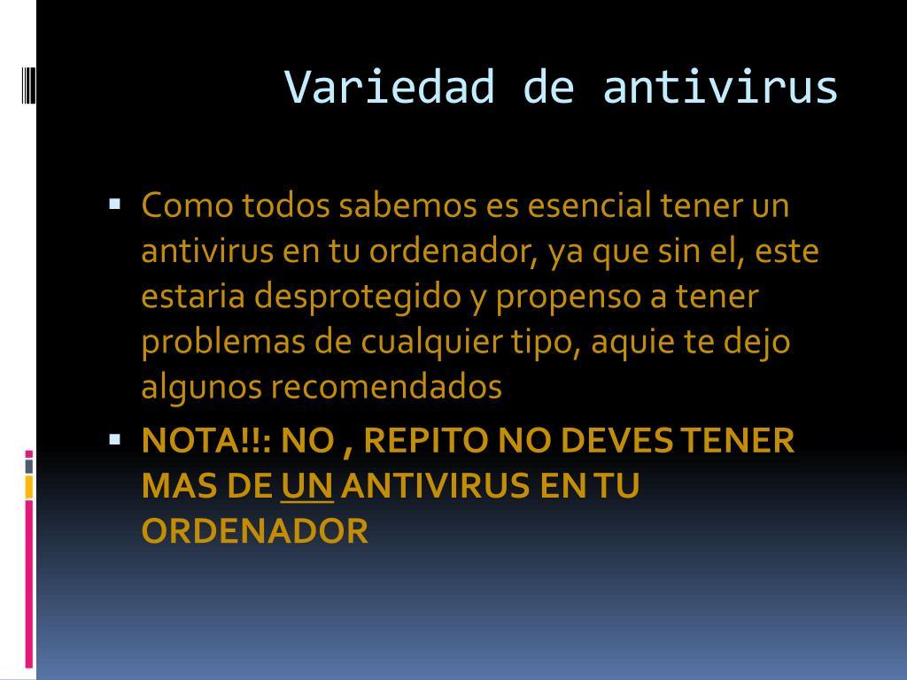 Variedad de antivirus