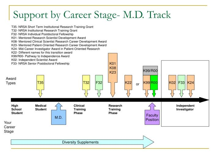 Support by career stage m d track