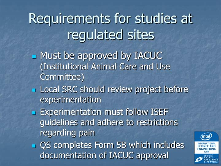 Requirements for studies at regulated sites