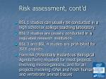 risk assessment cont d