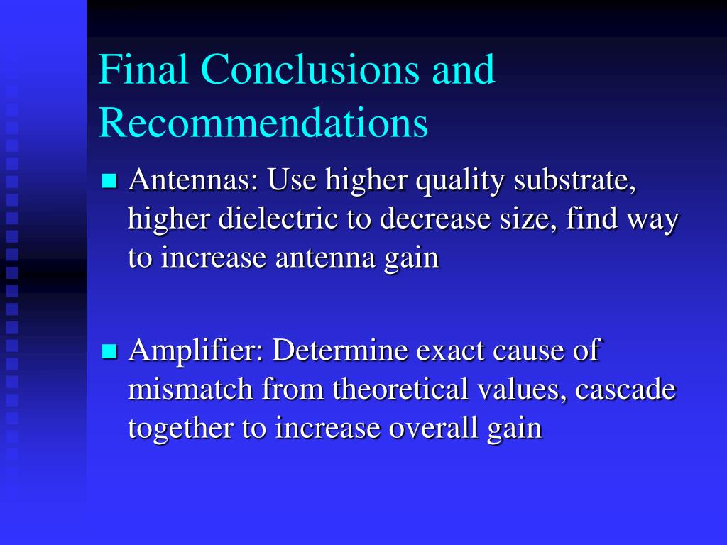 Final Conclusions and Recommendations