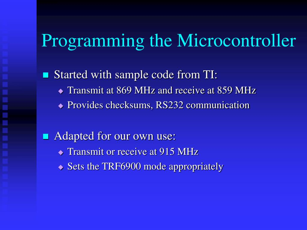Programming the Microcontroller