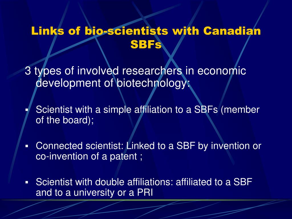Links of bio-scientists with Canadian SBFs
