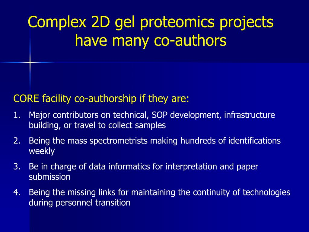 Complex 2D gel proteomics projects have many co-authors