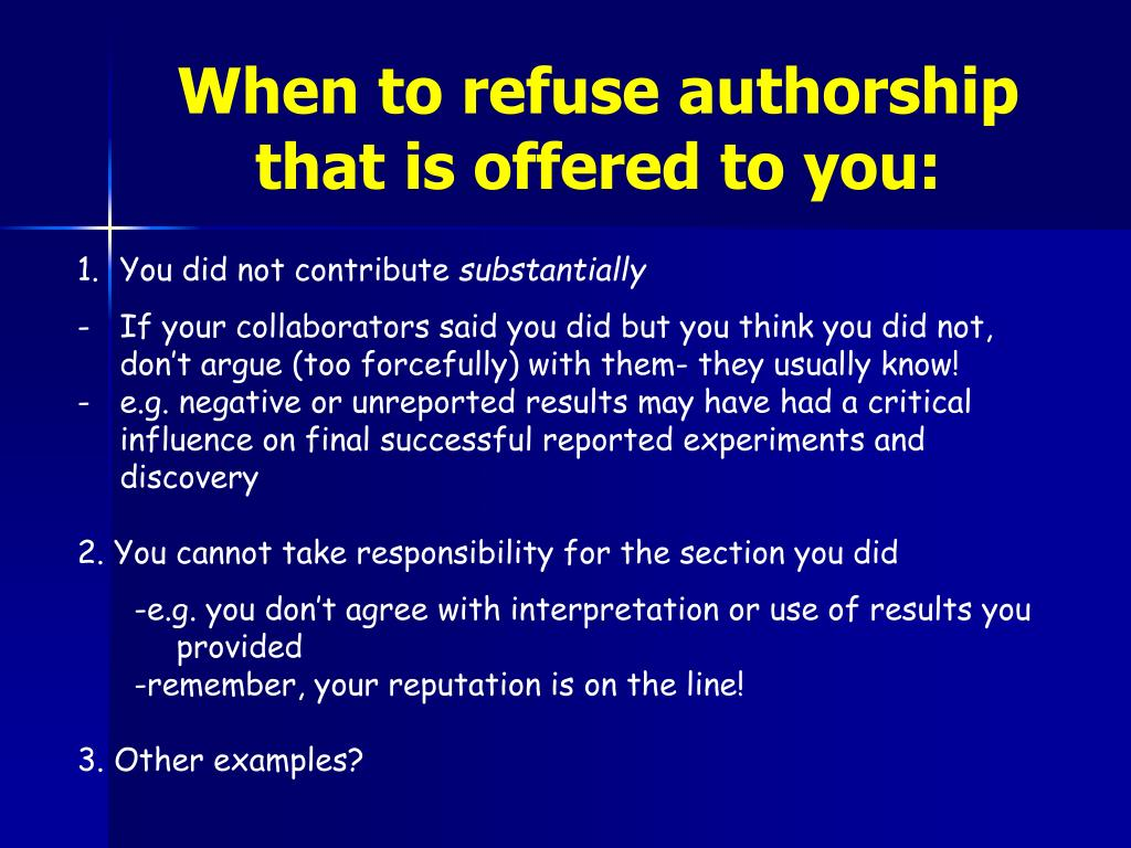 When to refuse authorship