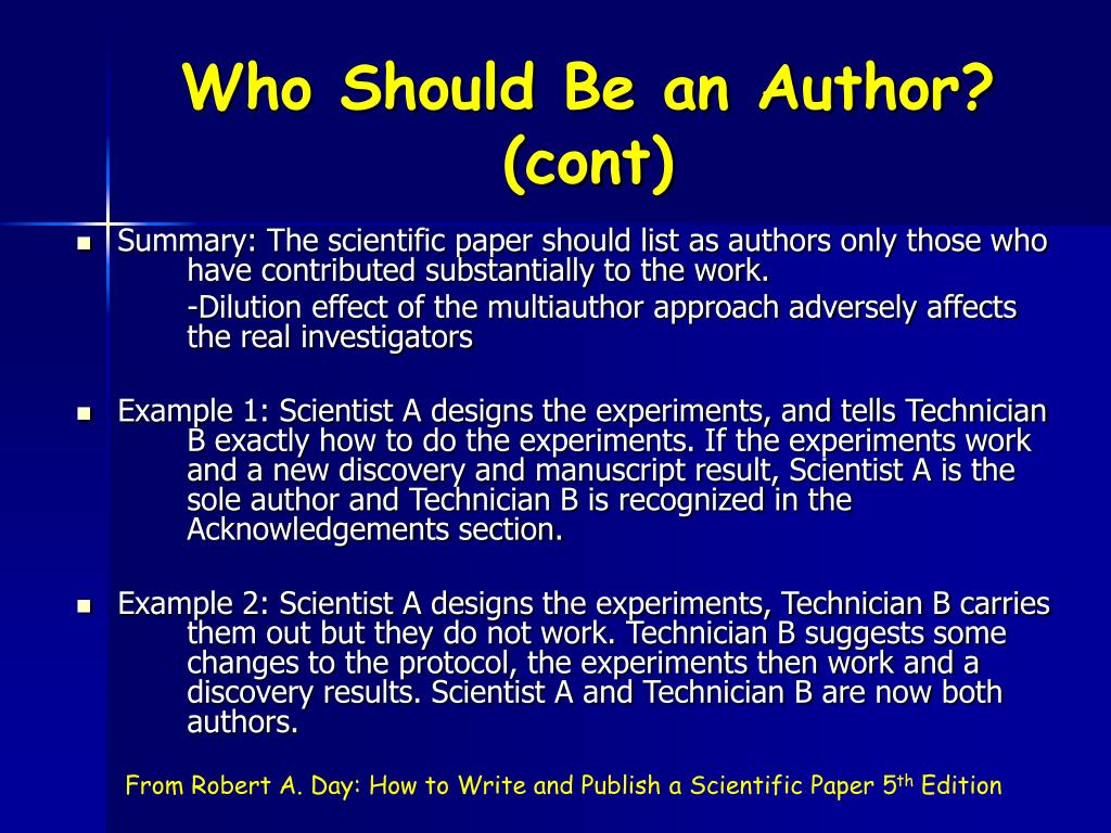 Who Should Be an Author? (cont)