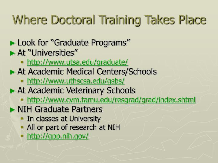 Where Doctoral Training Takes Place