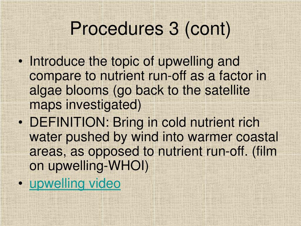 Procedures 3 (cont)