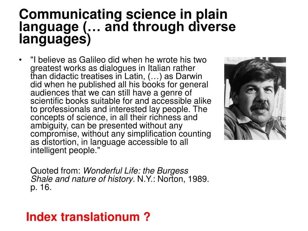Communicating science in plain language (… and through diverse languages)